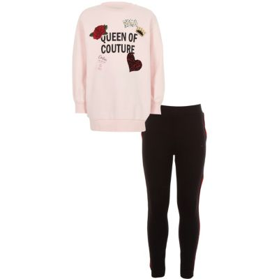 Girls Pink 'queen Couture' Sweatshirt Outfit by River Island