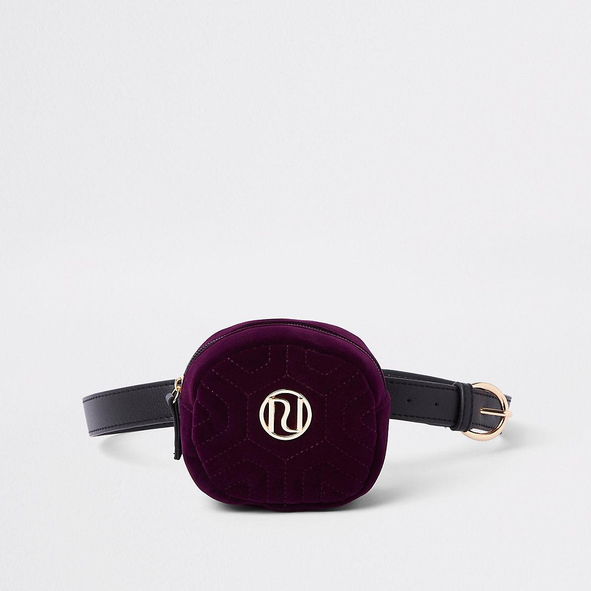 Girls purple quilted RI bum bag