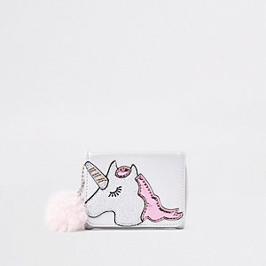 Girls white unicorn print purse