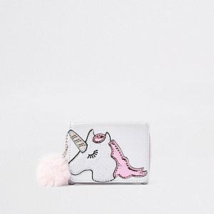 Porte-monnaie imprimé licorne blanc pour fille