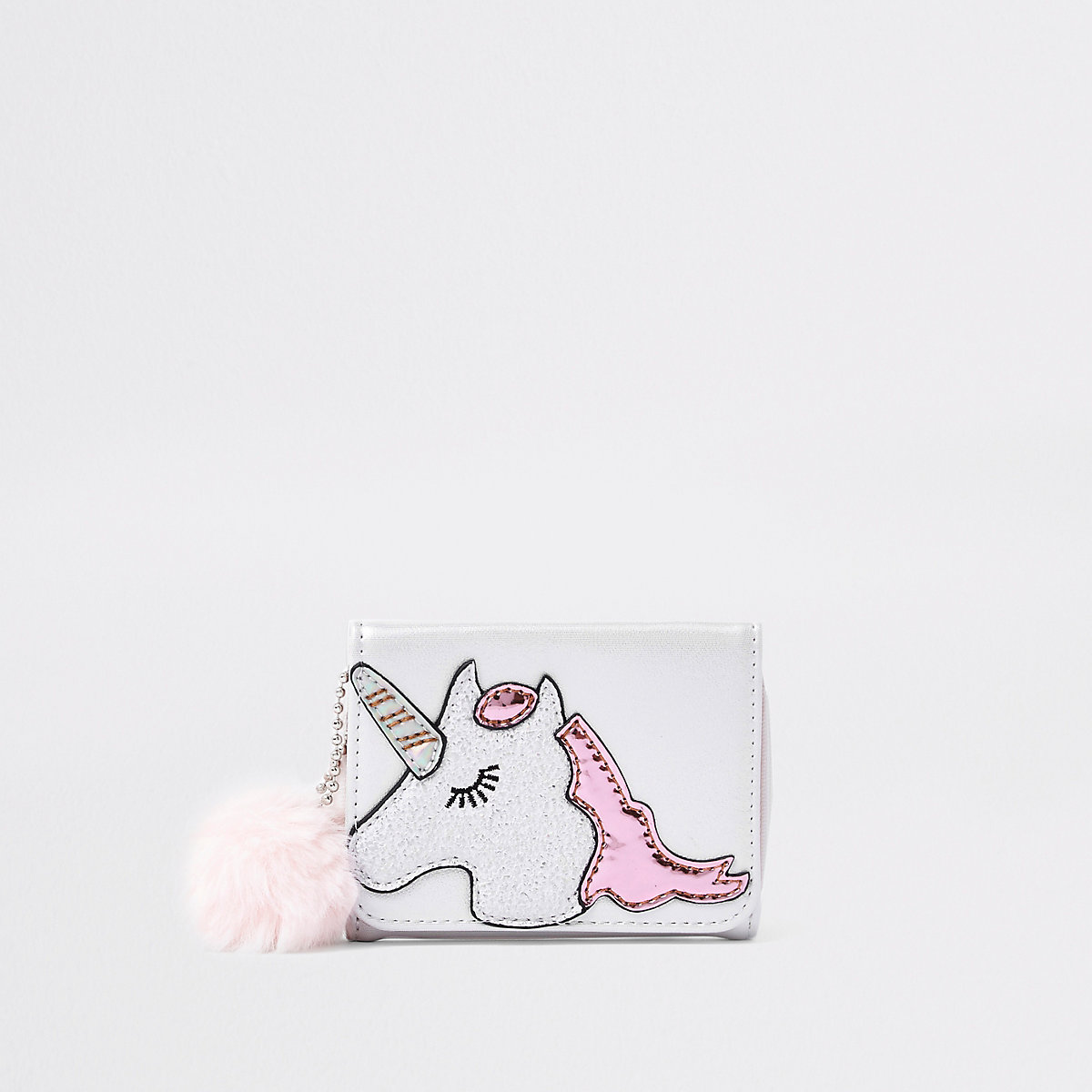 Girls white unicorn print purse