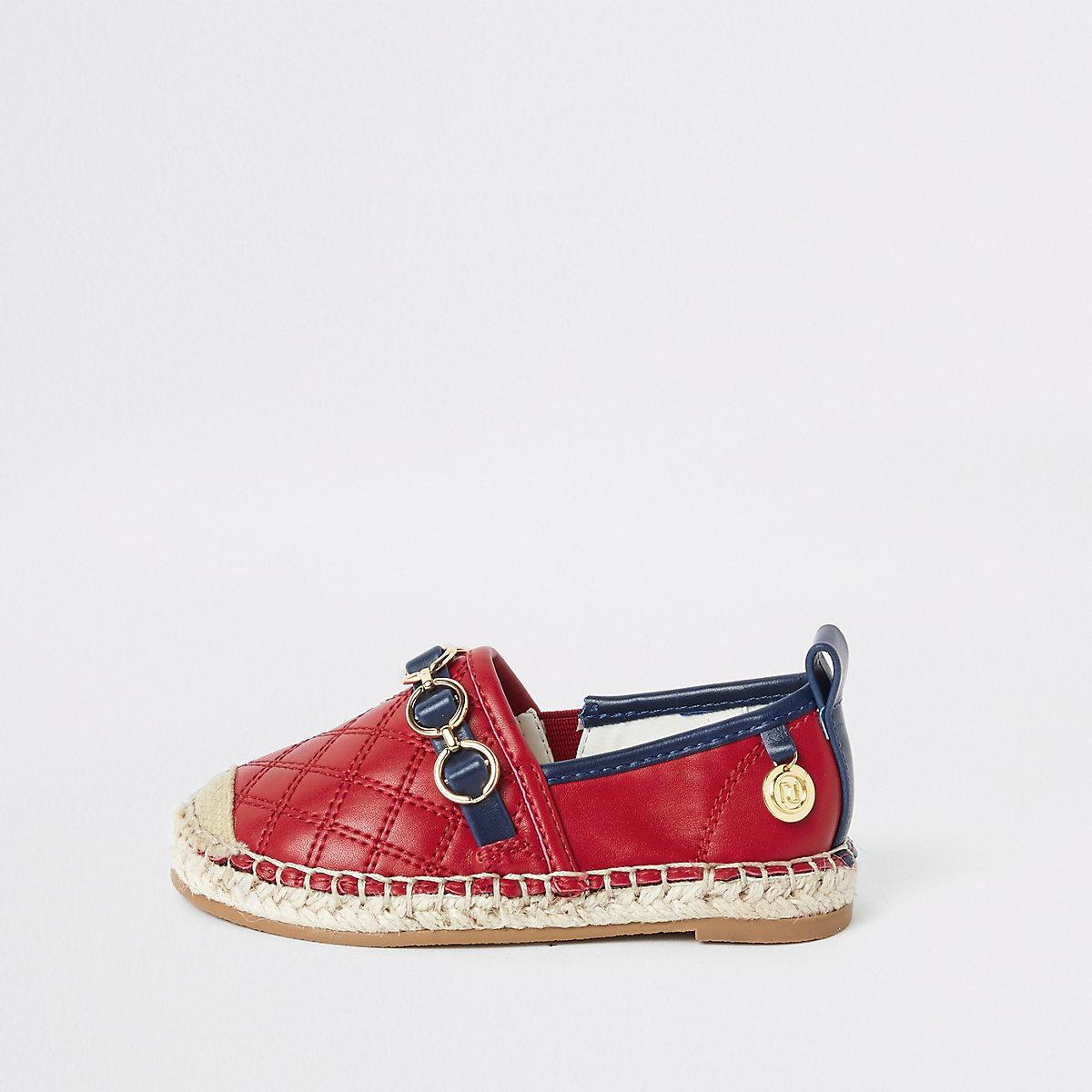 Mini girls red espadrille plimsolls