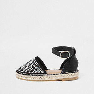 Mini girls black studded espadrille sandals