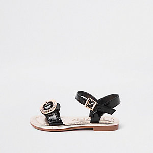 Mini girls black diamante buckle sandals