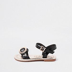 Sandales noires avec boucle à strass pour mini fille