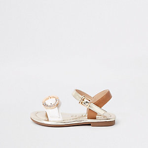 Mini girls white rhinestone buckle sandals