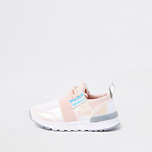 Mini girls pink holographic runner trainers