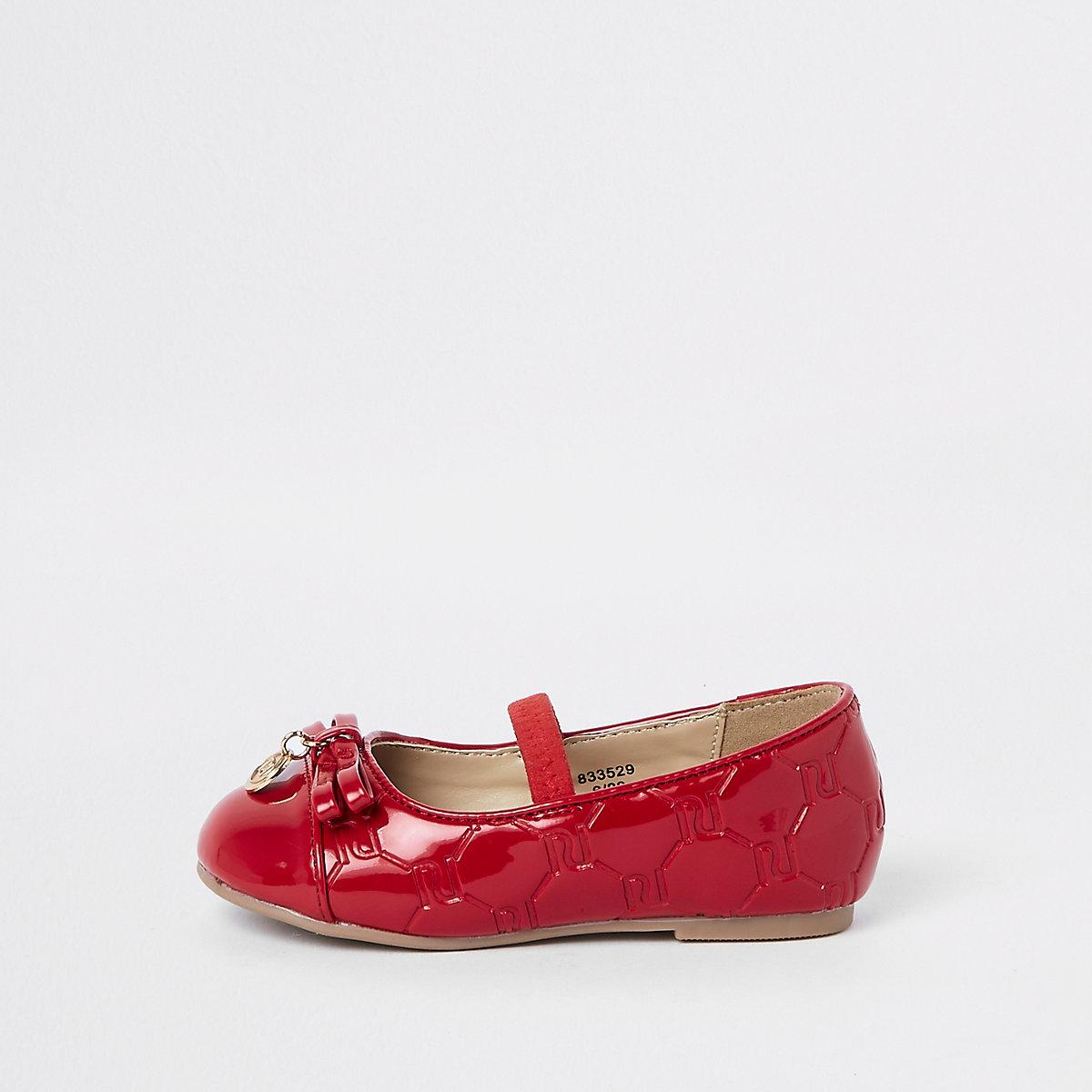 Mini girls red RI monogram ballerina pumps
