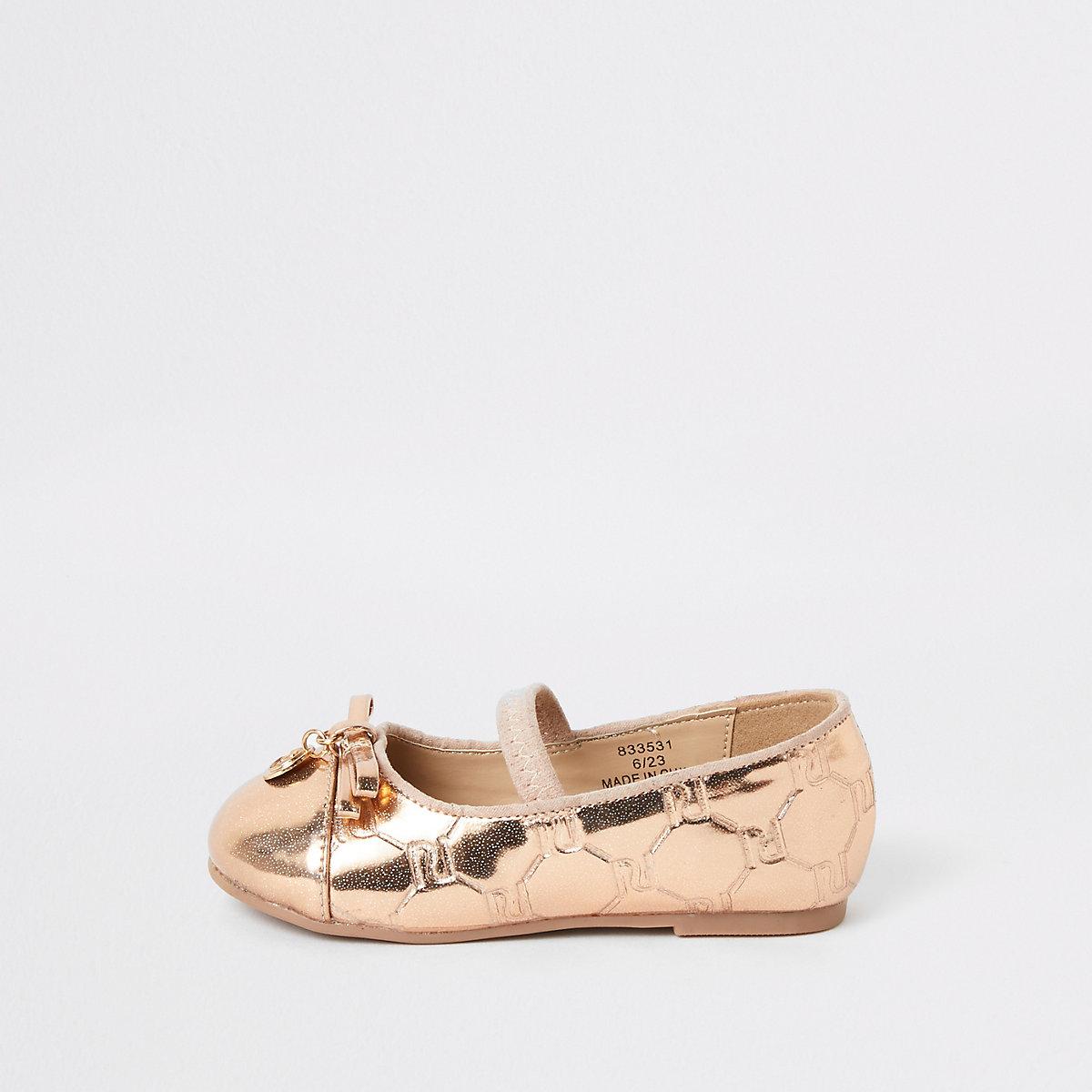 Mini girls pink RI monogram ballet shoes