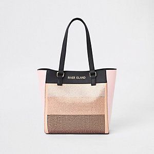 Girls pink diamante shopper bag