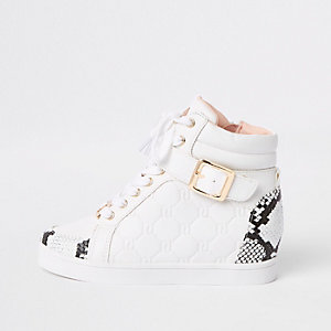 Girls white snake print hi top trainers