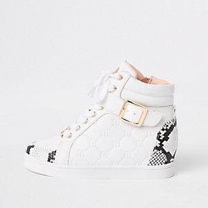 Girls white snake print hi top sneakers