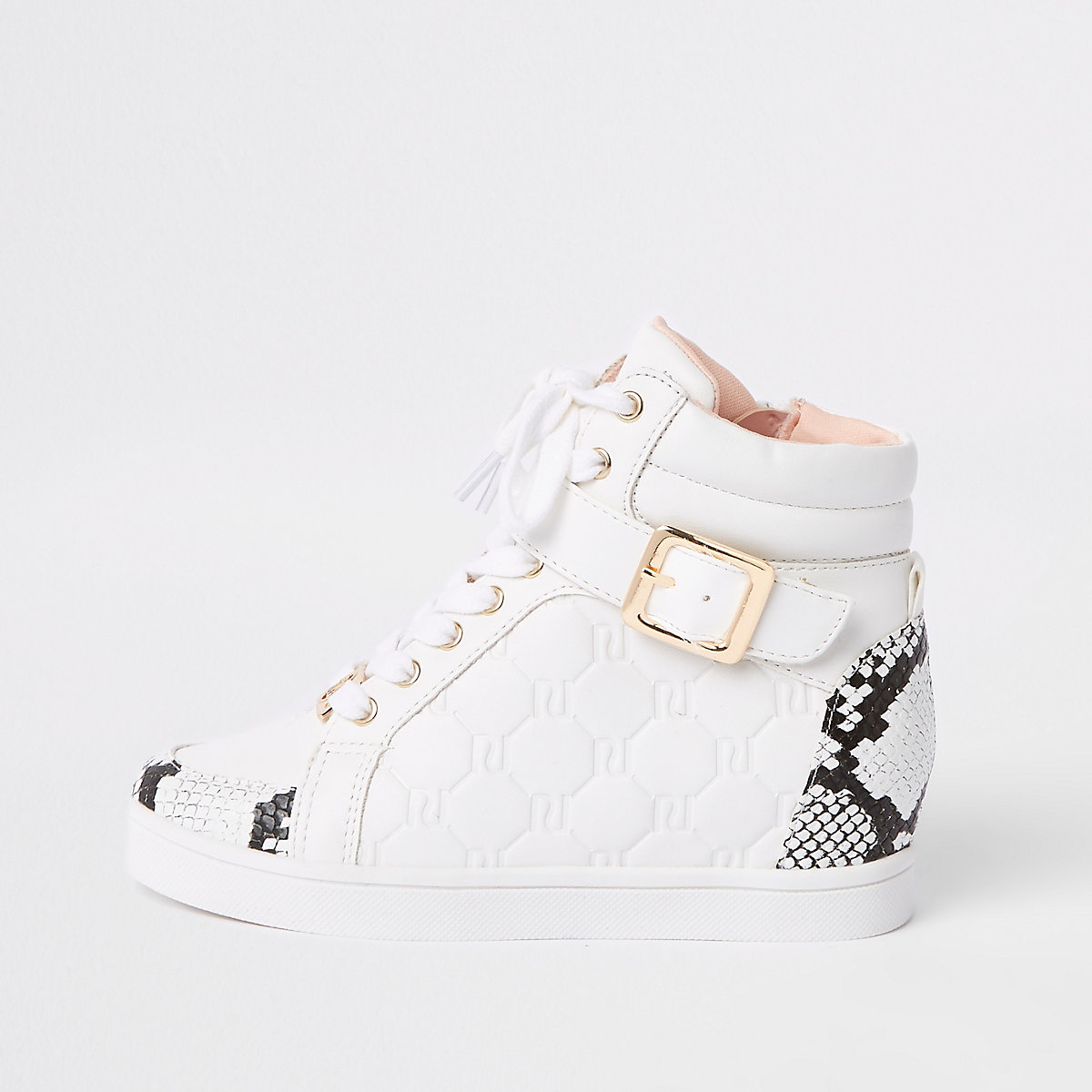 Girls white snake print hi top trainers