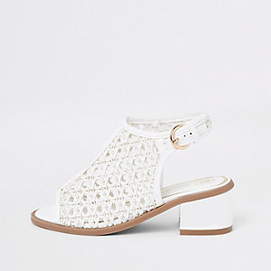 Girls white weave shoe boots