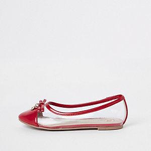 Rode perspex ballerinapumps voor meisjes