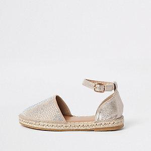 Girls gold embellished espadrille sandals