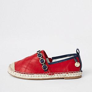 Girls red embossed contrast espadrilles