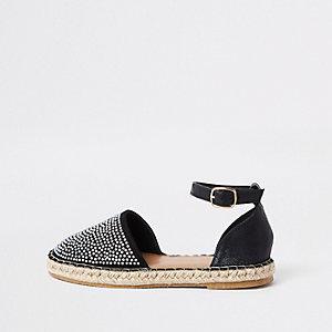 Sandales espadrilles noires ornées pour fille