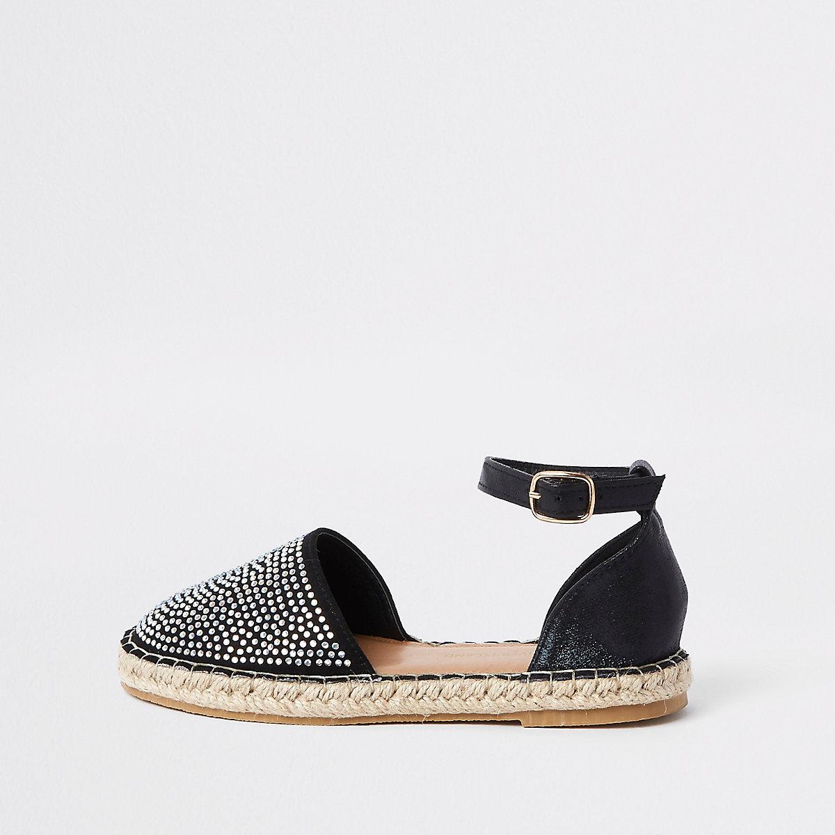 Girls black embellished espadrille sandals