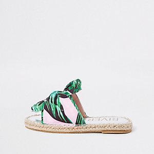 Girls green tropical bow espadrille sliders