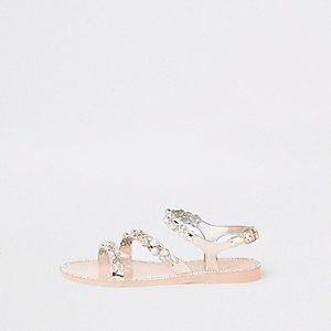 Girls gold diamante jelly sandals