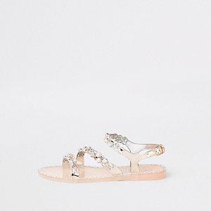 Girls gold diamante jelly sandals
