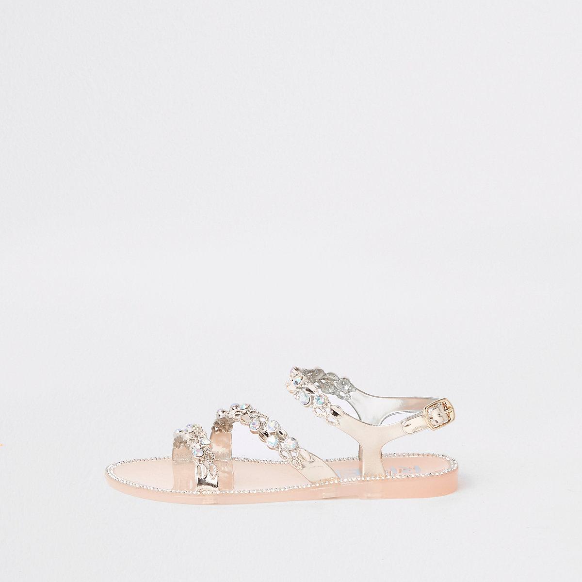 Girls gold rhinestone jelly sandals