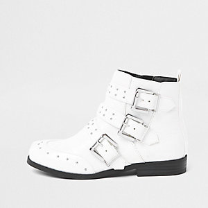 Girls white stud buckle ankle boots