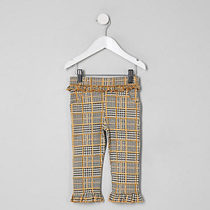 Mini girls grey check trousers