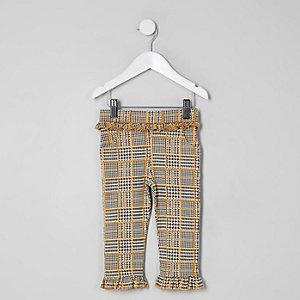 Pantalon à carreaux gris mini fille