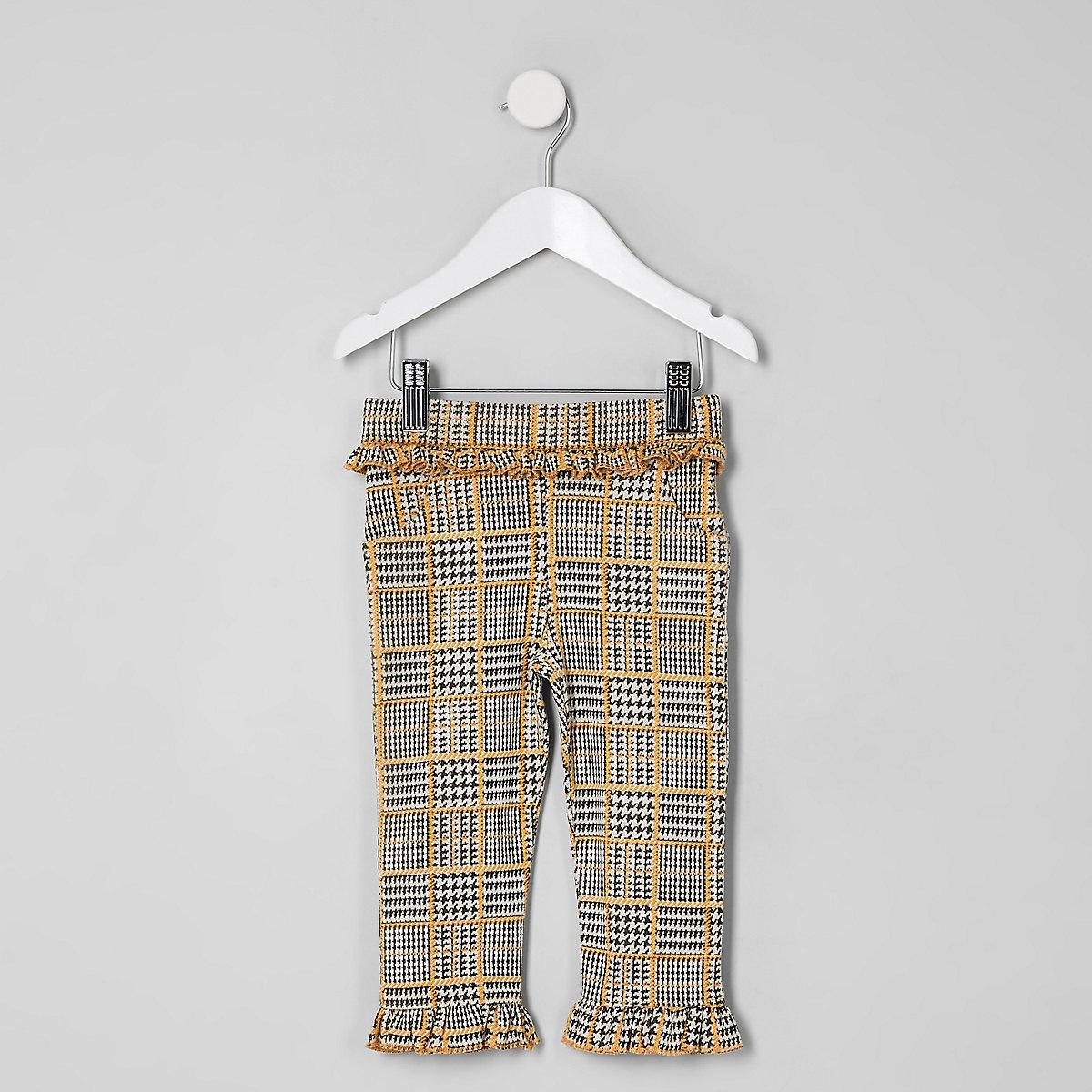 Mini girls grey check pants