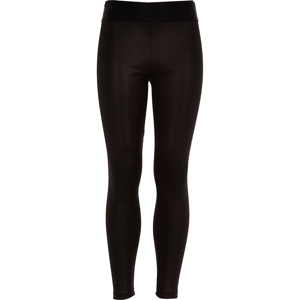 Girls black coated wet look leggings