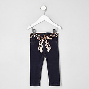 Mini girls blue Molly mid rise belted jeans