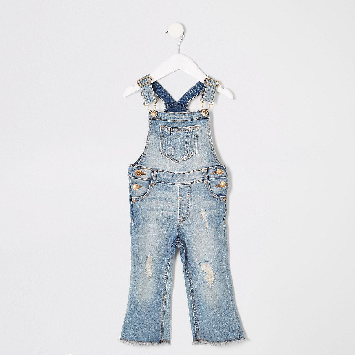 Mini girls blue denim flare overalls