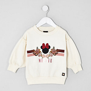 Mini girls cream Minnie Mouse sweatshirt