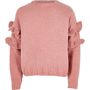 Girls pink frill chenille knit jumper
