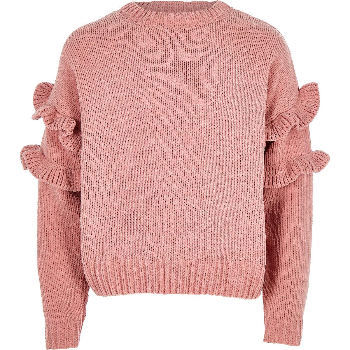 Girls pink frill chenille knit jumper