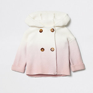 Baby pink ombre hooded knit cardigan