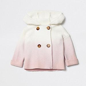 Roze ombre gebreid vest met capuchon voor baby's