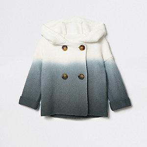 Cardigan en maille gris dégradé à capuche pour bébé