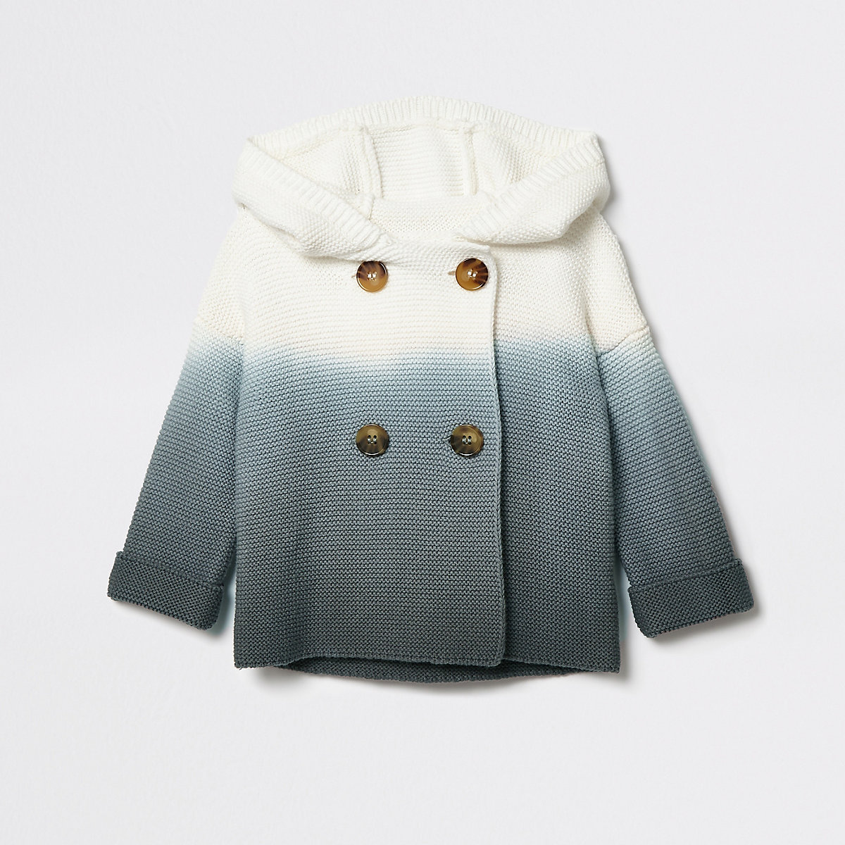 Baby grey ombre hooded knit cardigan