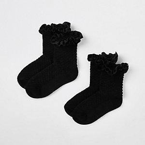 Mini - Multipack zwarte sokken met fluwelen rand voor meisjes
