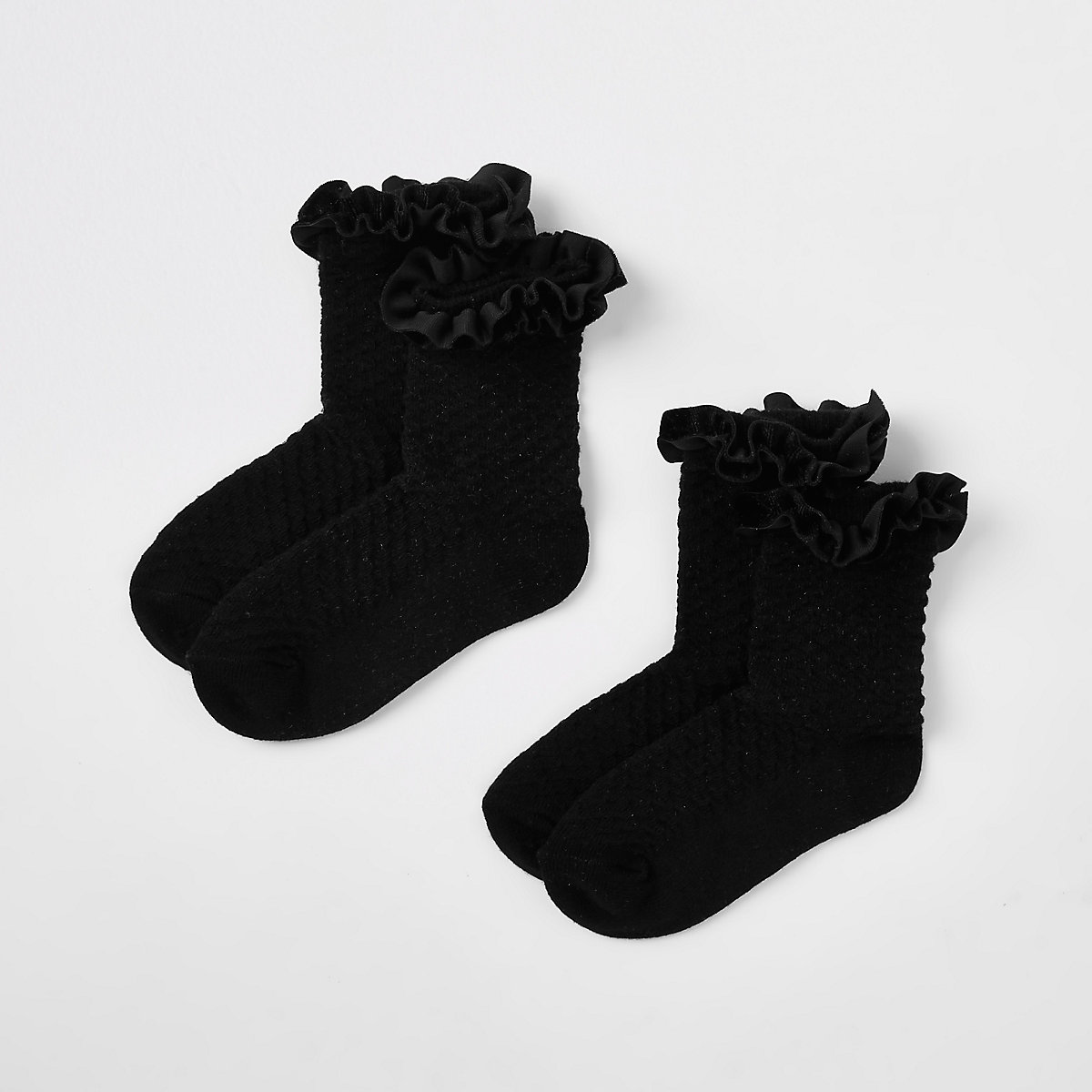 Mini girls black velvet trim socks multipack