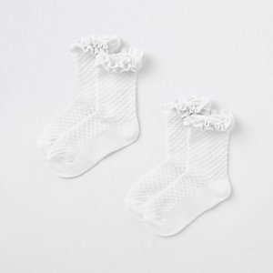 Mini girls white velvet trim socks multipack