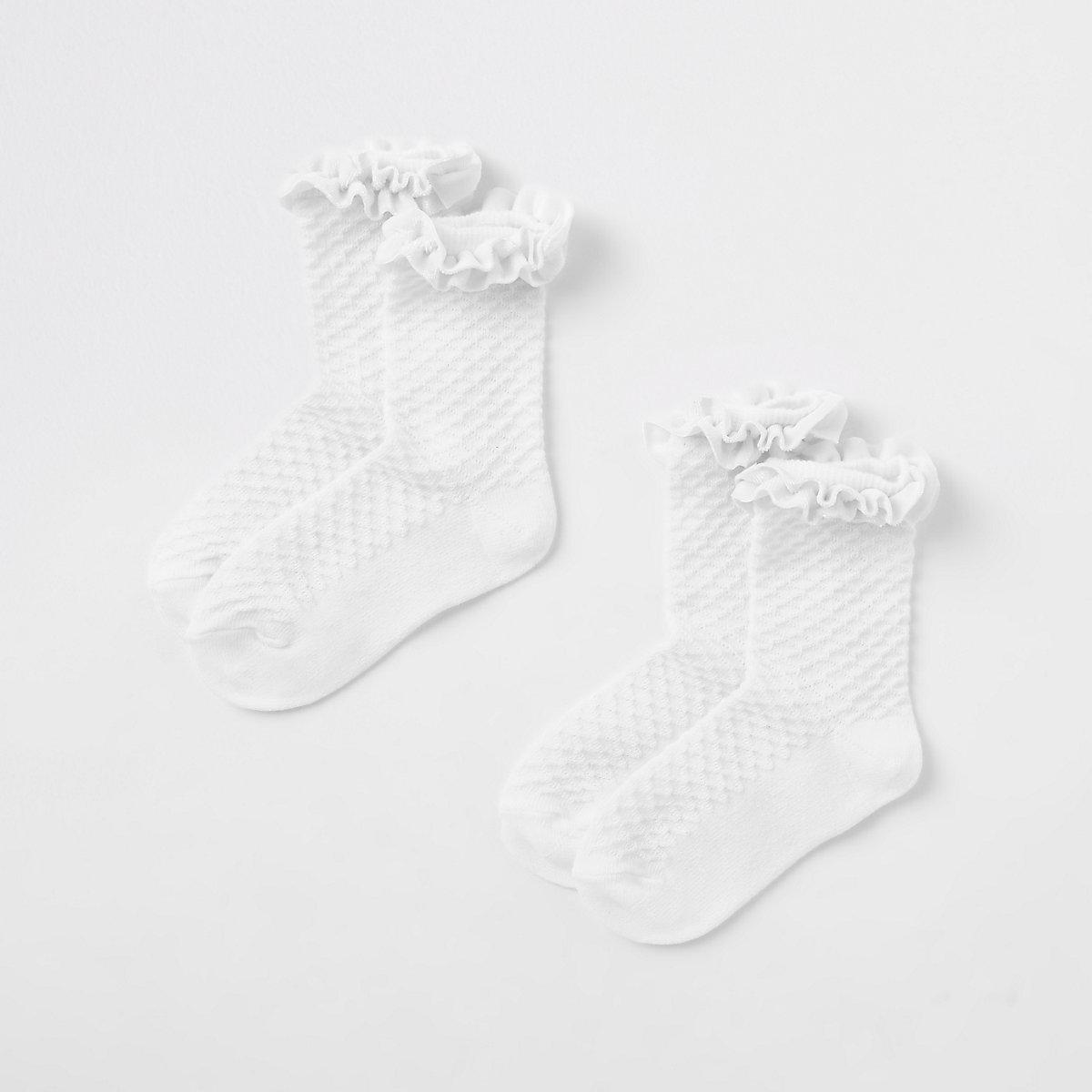 Mini girls white velvet trim socks multipack