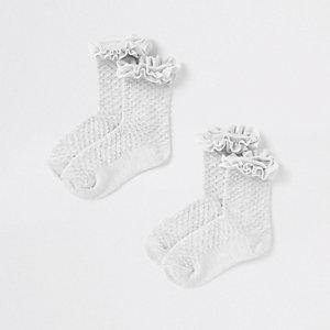 Mini girls grey velvet trim socks multipack