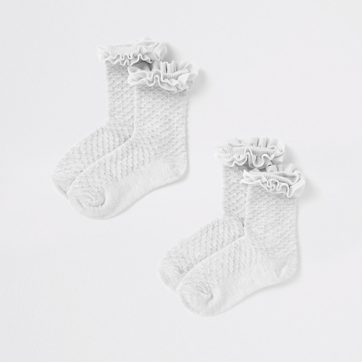 Mini girls grey velvet trim socks multipack