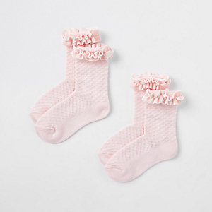 Mini girls pink velvet trim socks multipack