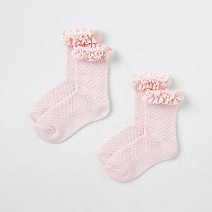 Lot de chaussettes roses bordées de velours mini fille