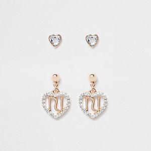 Girls RI diamante heart earrings multipack